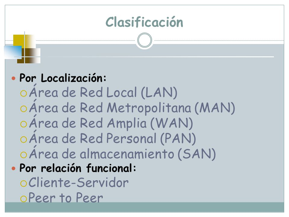 Clasificación Área de Red Local (LAN) Área de Red Metropolitana (MAN)
