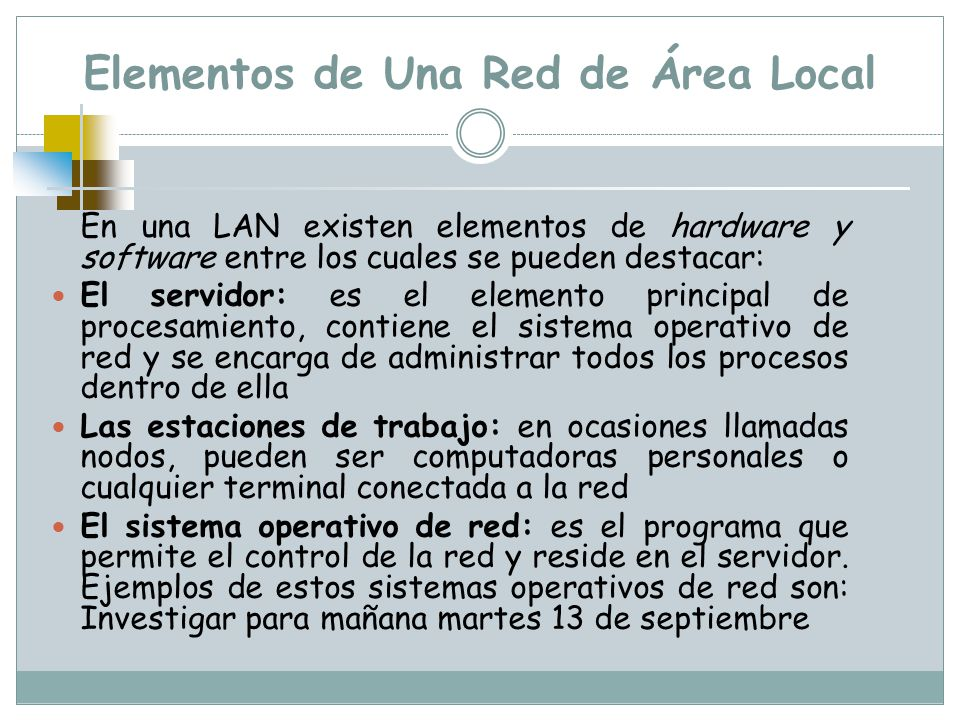 Elementos de Una Red de Área Local