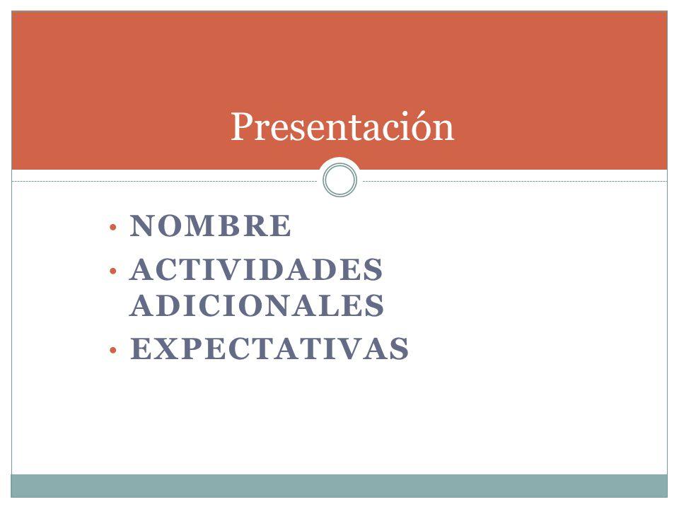 Presentación Nombre Actividades adicionales Expectativas