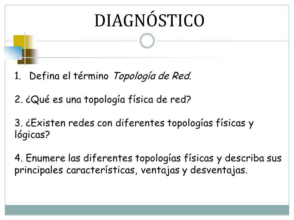 DIAGNÓSTICO Defina el término Topología de Red.