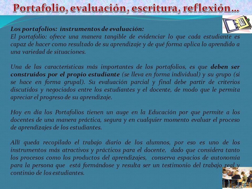Portafolio, evaluación, escritura, reflexión…