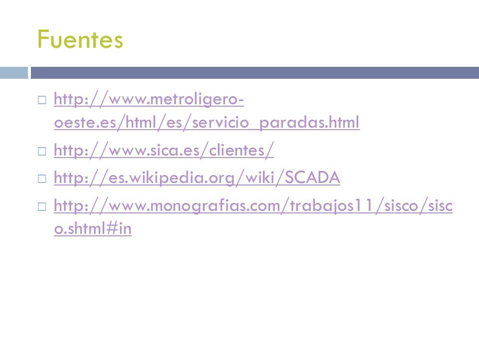 Fuentes http://www.metroligero- oeste.es/html/es/servicio_paradas.html