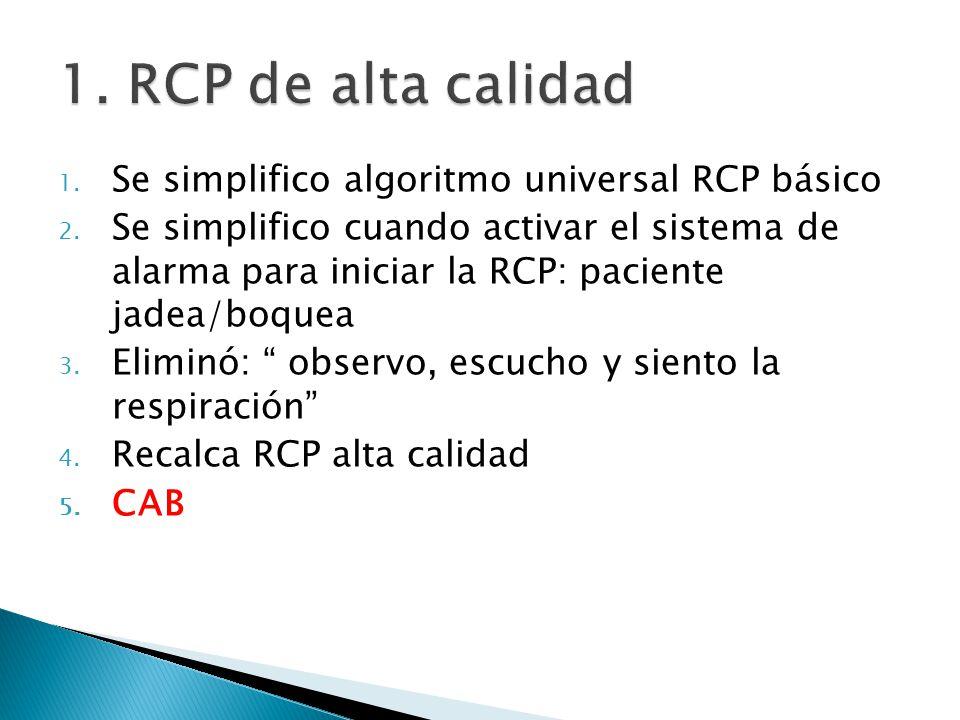 1. RCP de alta calidad Se simplifico algoritmo universal RCP básico