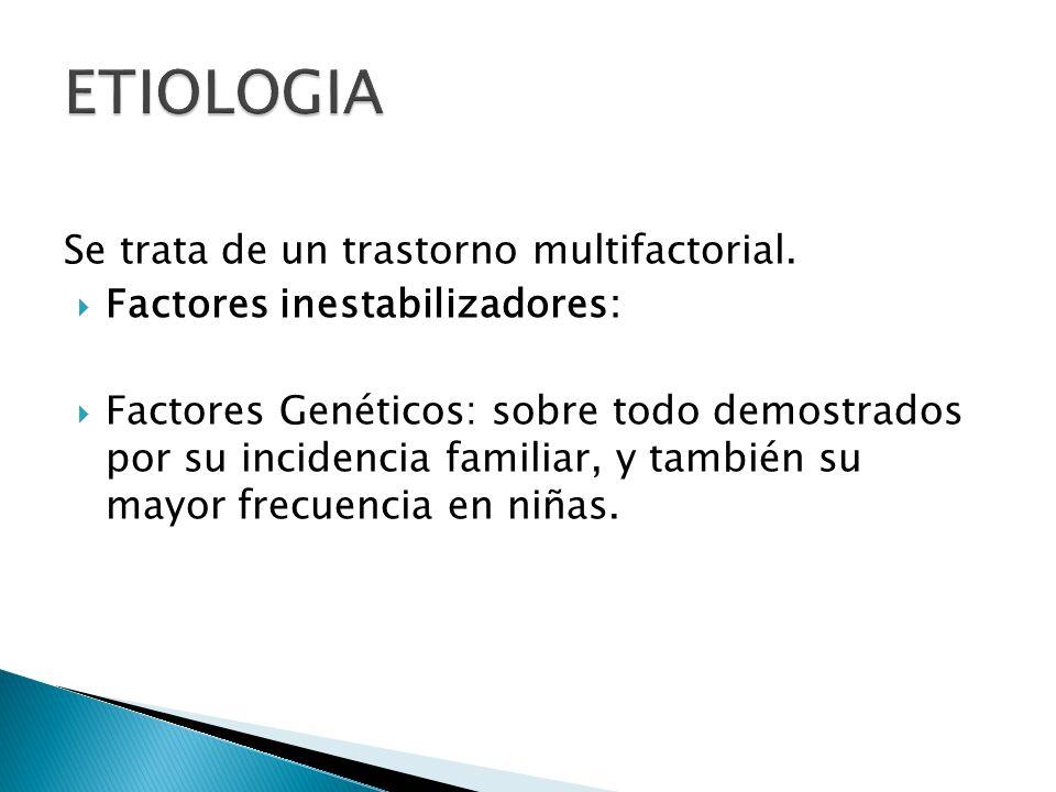 ETIOLOGIA Se trata de un trastorno multifactorial.