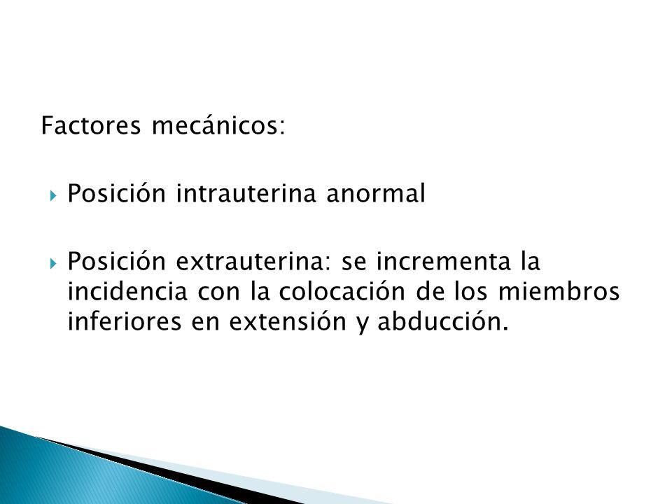 Factores mecánicos: Posición intrauterina anormal.