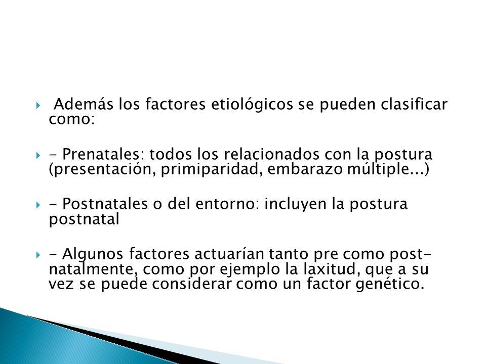 Además los factores etiológicos se pueden clasificar como: