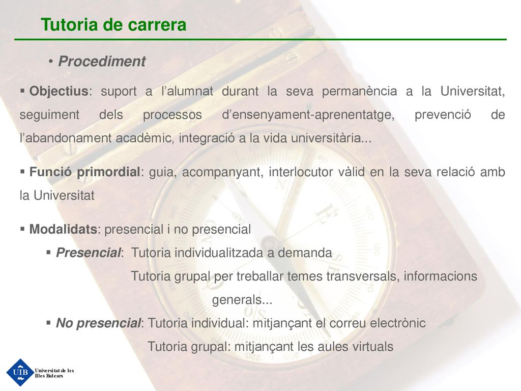 Tutoria de carrera Procediment