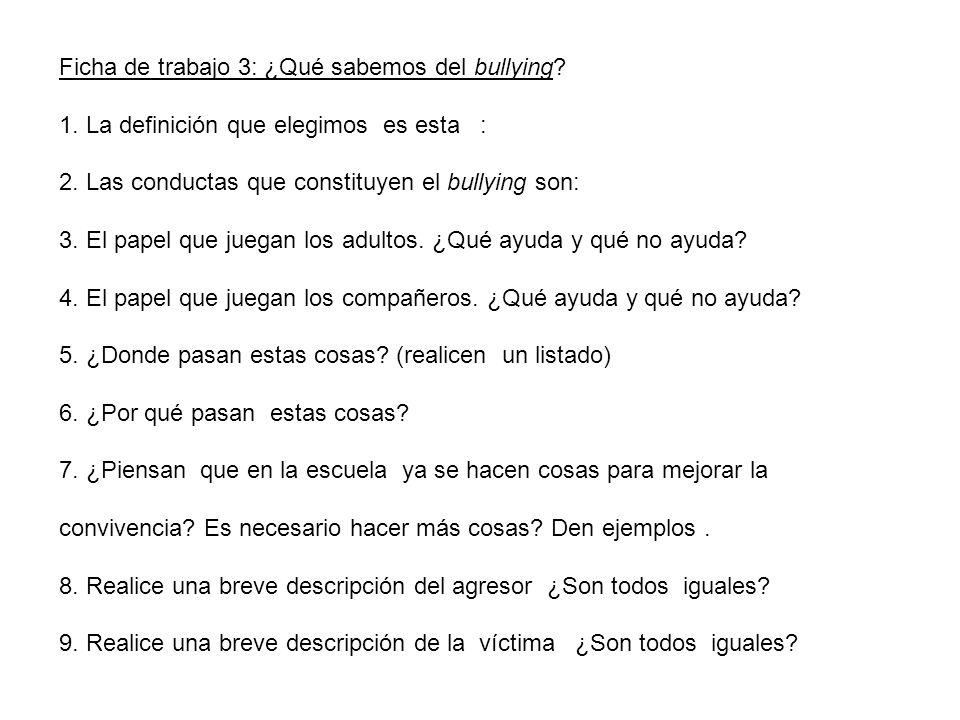 Ficha de trabajo 3: ¿Qué sabemos del bullying