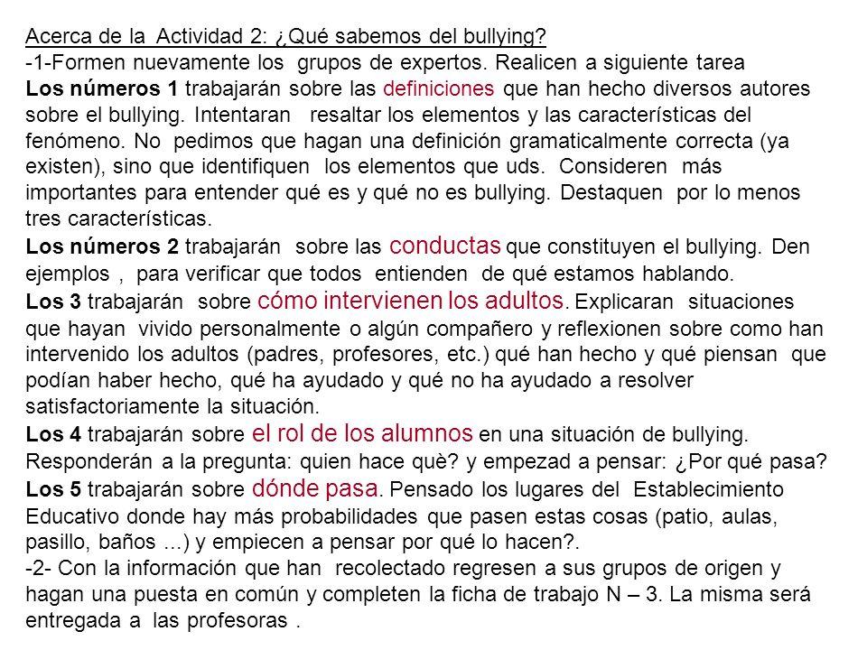 Acerca de la Actividad 2: ¿Qué sabemos del bullying