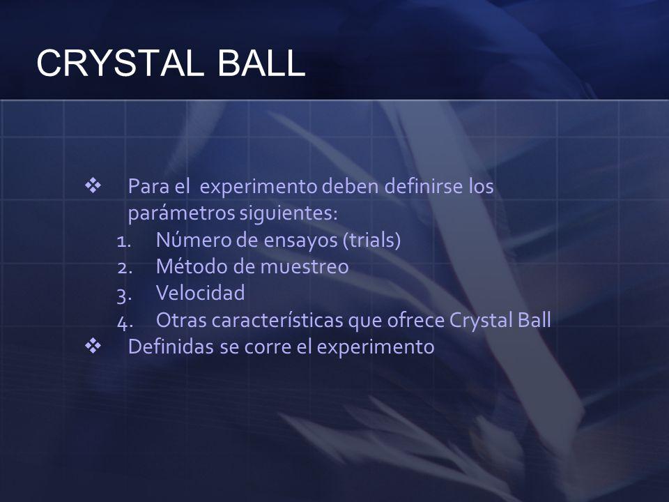 CRYSTAL BALL Para el experimento deben definirse los parámetros siguientes: Número de ensayos (trials)