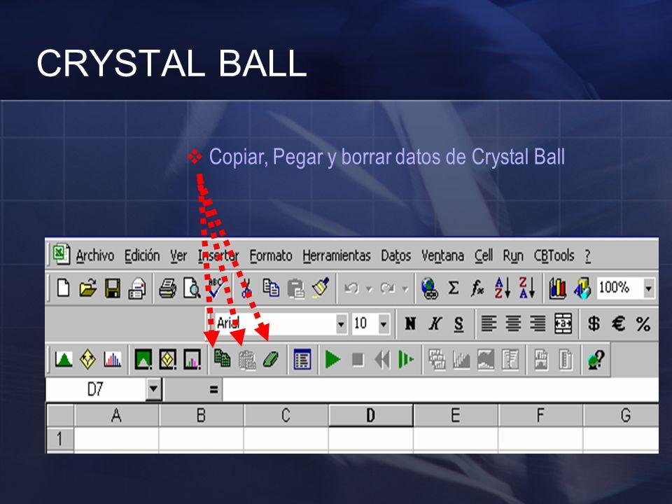 CRYSTAL BALL Copiar, Pegar y borrar datos de Crystal Ball