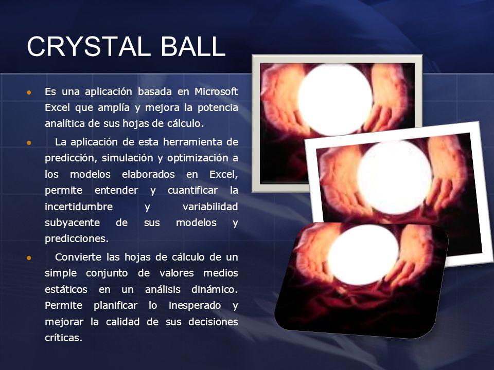 CRYSTAL BALL Es una aplicación basada en Microsoft Excel que amplía y mejora la potencia analítica de sus hojas de cálculo.
