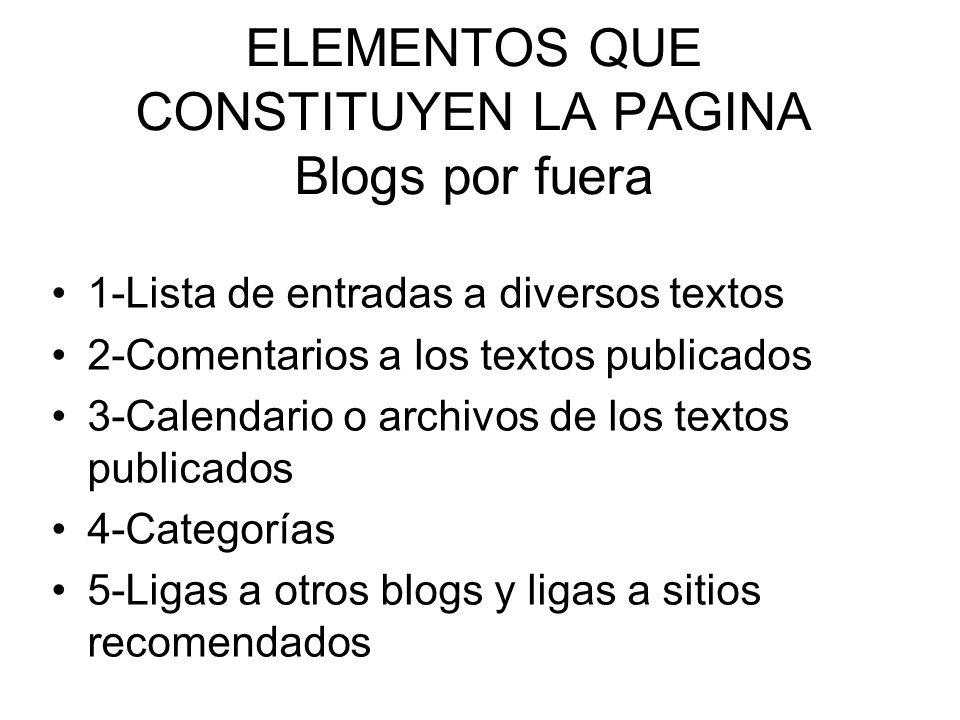 ELEMENTOS QUE CONSTITUYEN LA PAGINA Blogs por fuera