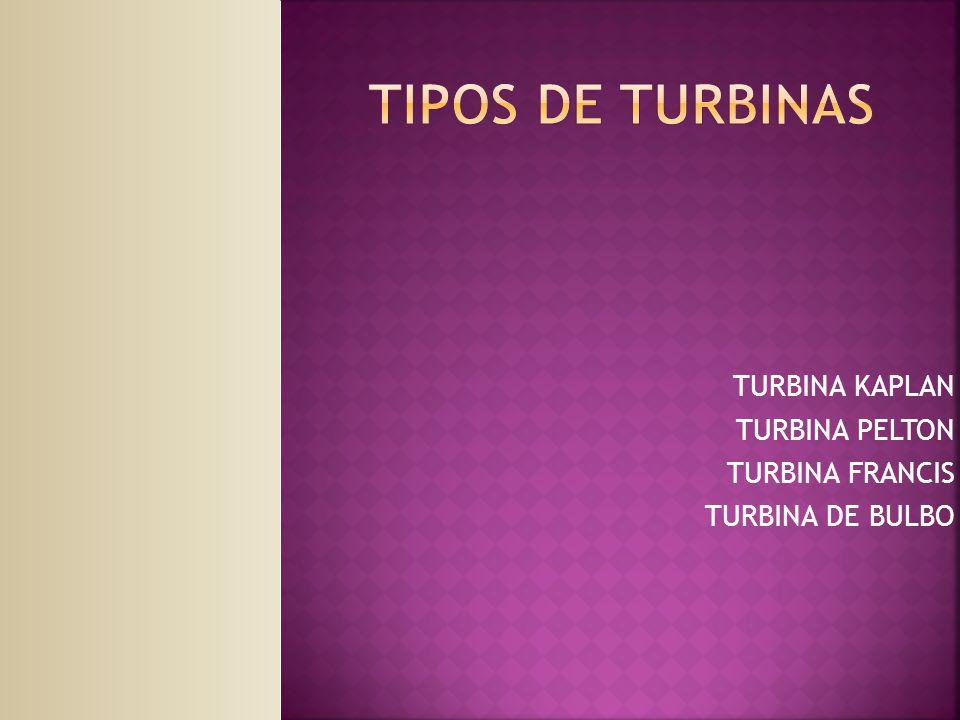TURBINA KAPLAN TURBINA PELTON TURBINA FRANCIS TURBINA DE BULBO
