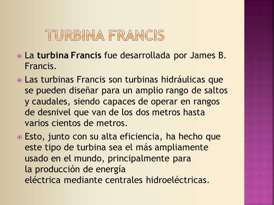 Turbina francis La turbina Francis fue desarrollada por James B. Francis.
