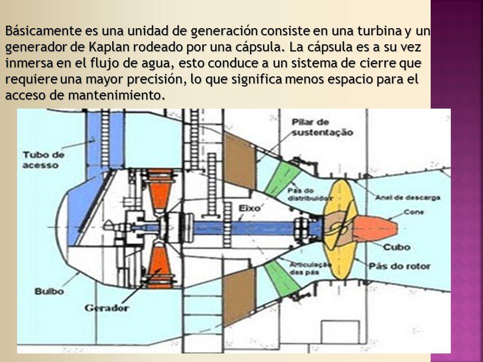 Básicamente es una unidad de generación consiste en una turbina y un generador de Kaplan rodeado por una cápsula.