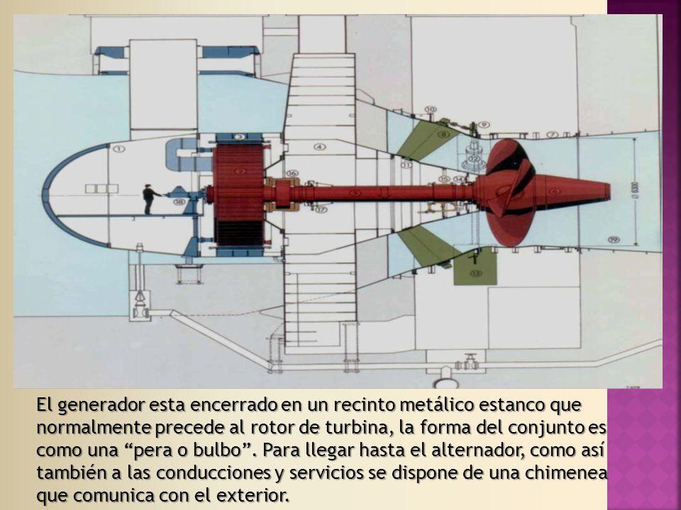 El generador esta encerrado en un recinto metálico estanco que normalmente precede al rotor de turbina, la forma del conjunto es como una pera o bulbo .