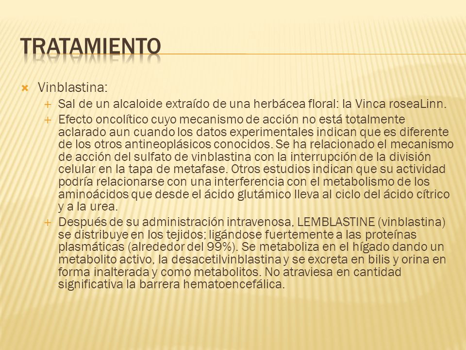 Tratamiento Vinblastina:
