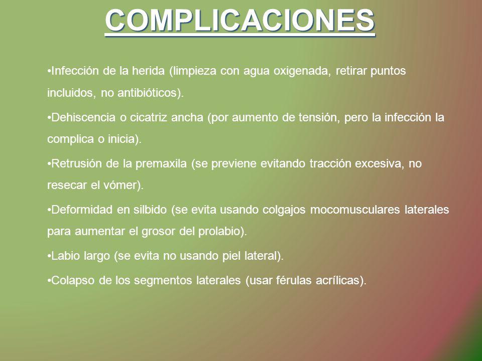 COMPLICACIONES Infección de la herida (limpieza con agua oxigenada, retirar puntos incluidos, no antibióticos).