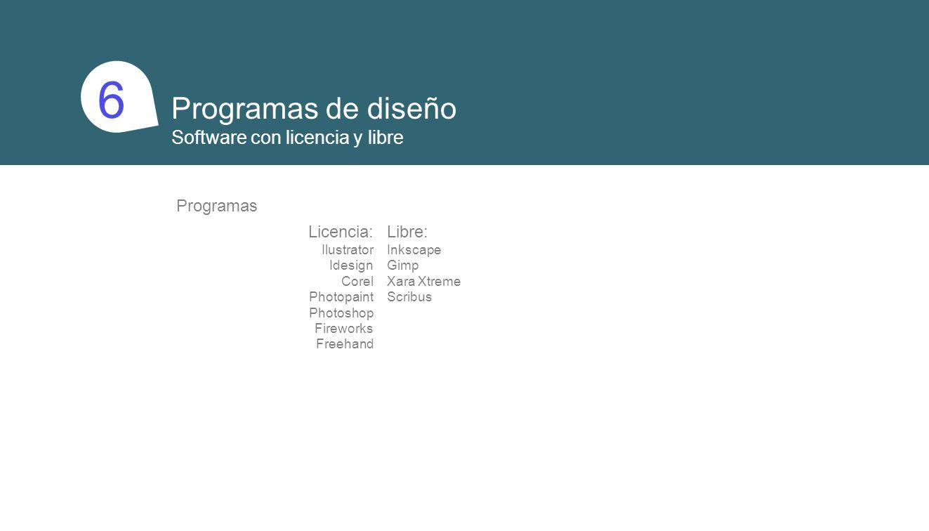 1 6 Programas de diseño Software con licencia y libre Programas