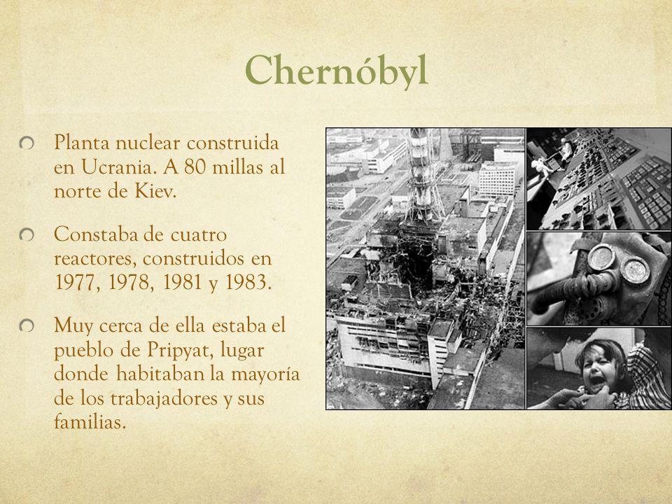 Chernóbyl Planta nuclear construida en Ucrania. A 80 millas al norte de Kiev.