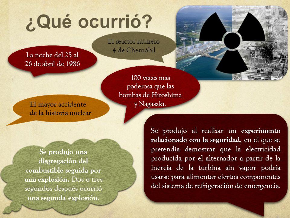 ¿Qué ocurrió El reactor número 4 de Chernóbil. La noche del 25 al 26 de abril de 1986.