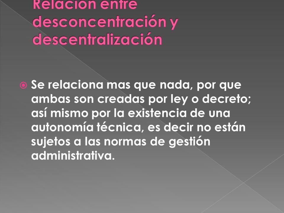 Relación entre desconcentración y descentralización