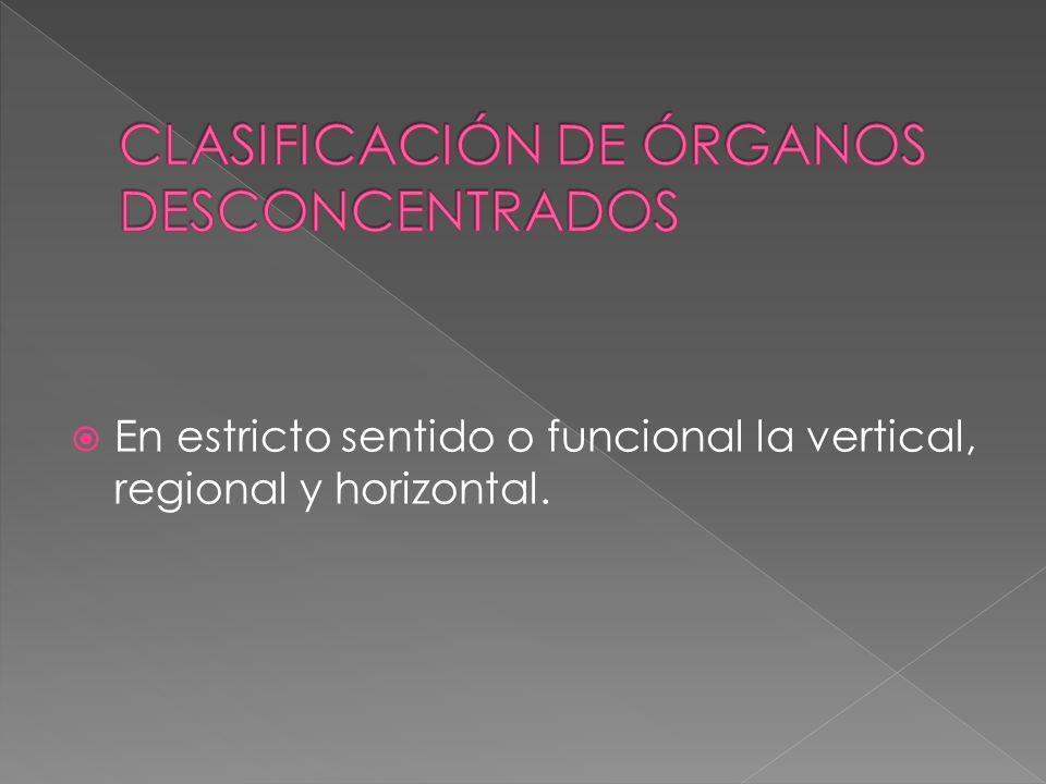 CLASIFICACIÓN DE ÓRGANOS DESCONCENTRADOS