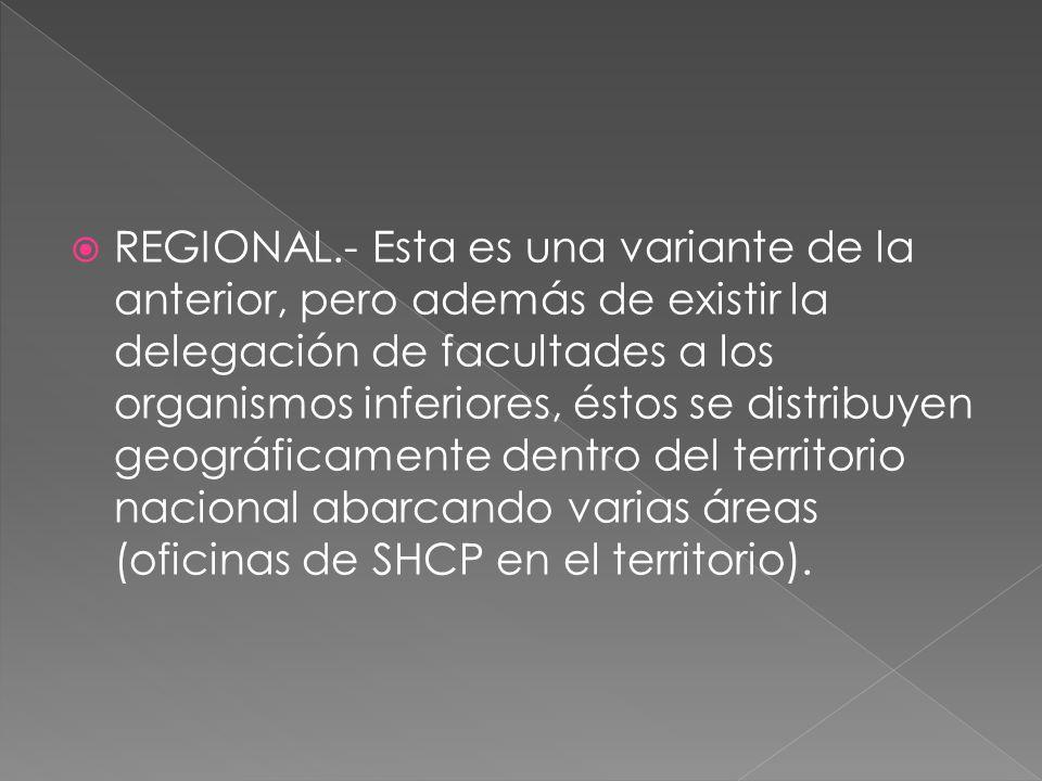 REGIONAL.- Esta es una variante de la anterior, pero además de existir la delegación de facultades a los organismos inferiores, éstos se distribuyen geográficamente dentro del territorio nacional abarcando varias áreas (oficinas de SHCP en el territorio).