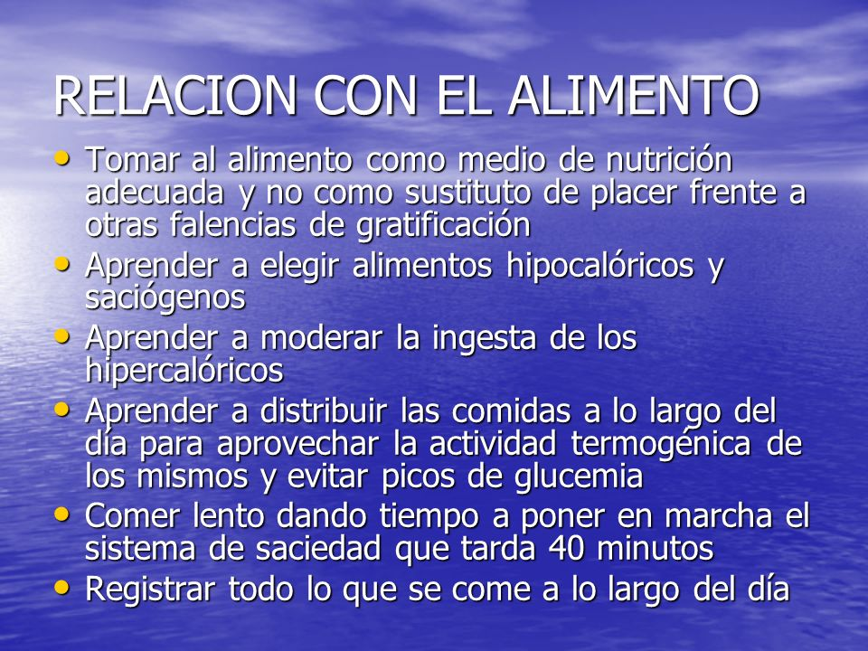 RELACION CON EL ALIMENTO