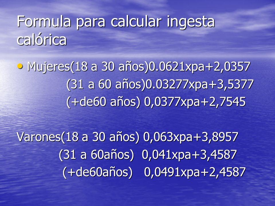Formula para calcular ingesta calórica