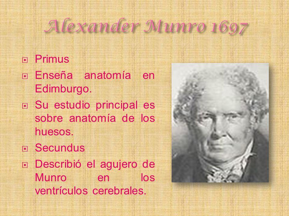 Alexander Munro 1697 Primus Enseña anatomía en Edimburgo.