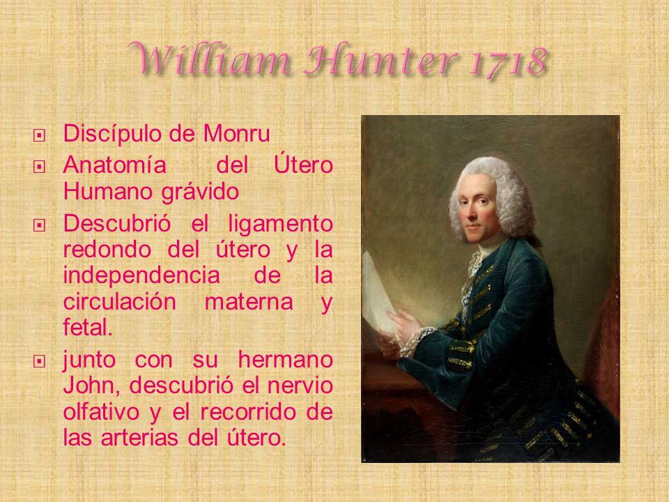 William Hunter 1718 Discípulo de Monru