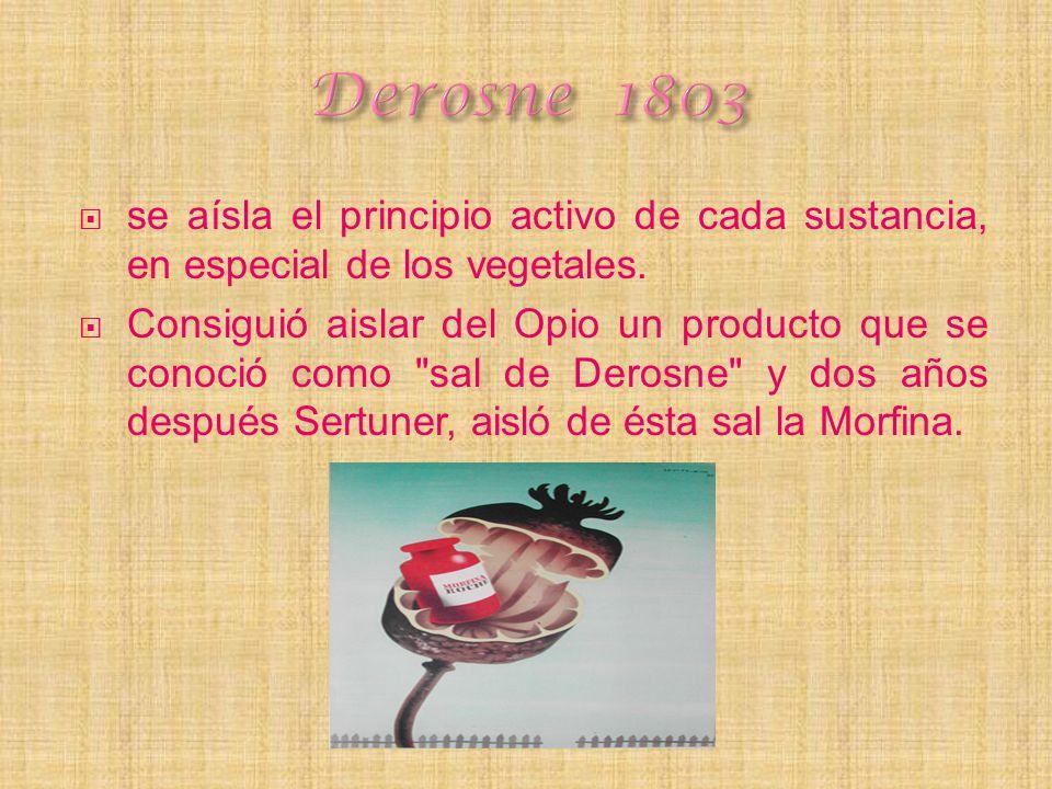 Derosne 1803 se aísla el principio activo de cada sustancia, en especial de los vegetales.