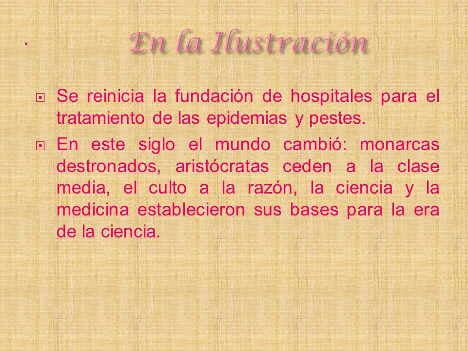 En la Ilustración . Se reinicia la fundación de hospitales para el tratamiento de las epidemias y pestes.