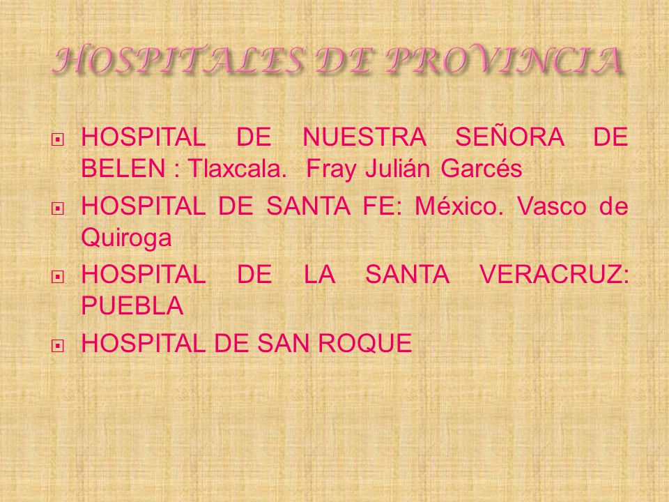 HOSPITALES DE PROVINCIA