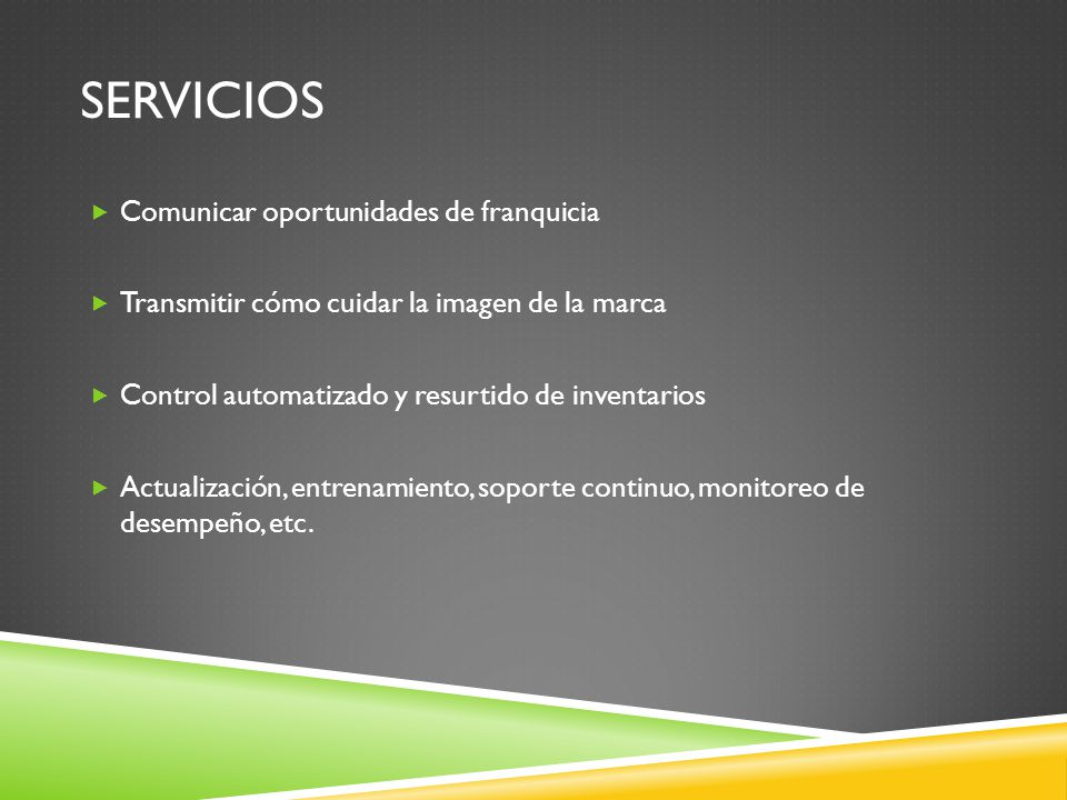 servicios Comunicar oportunidades de franquicia