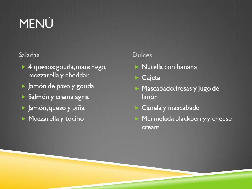 menú Saladas Dulces 4 quesos: gouda, manchego, mozzarella y cheddar