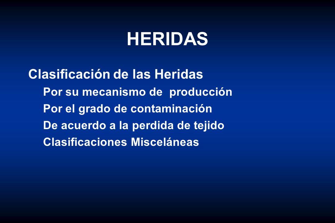 HERIDAS Clasificación de las Heridas Por su mecanismo de producción