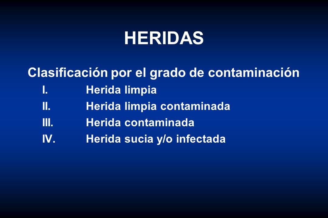 HERIDAS Clasificación por el grado de contaminación I. Herida limpia