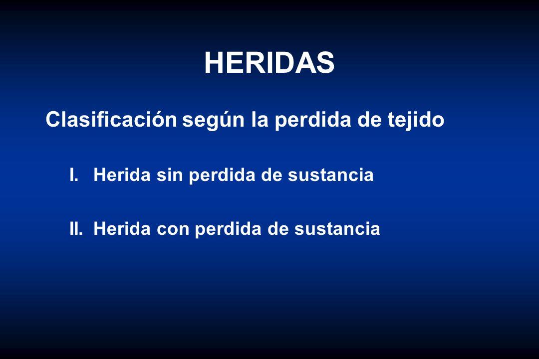 HERIDAS Clasificación según la perdida de tejido