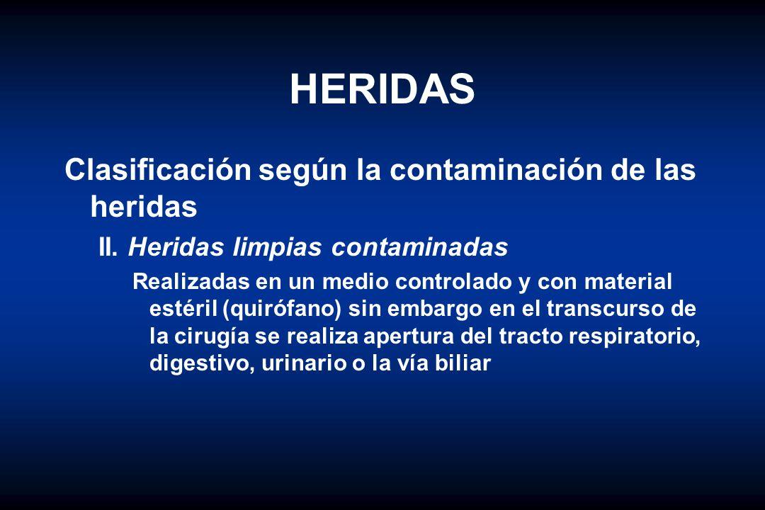 HERIDAS Clasificación según la contaminación de las heridas