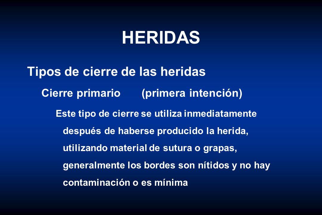 HERIDAS Tipos de cierre de las heridas