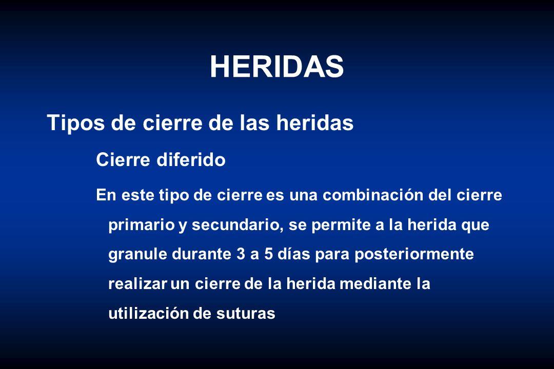 HERIDAS Tipos de cierre de las heridas Cierre diferido