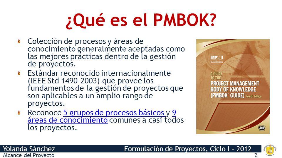 ¿Qué es el PMBOK Colección de procesos y áreas de conocimiento generalmente aceptadas como las mejores prácticas dentro de la gestión de proyectos.