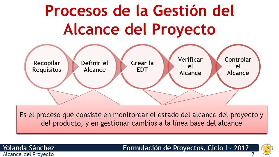 Procesos de la Gestión del Alcance del Proyecto