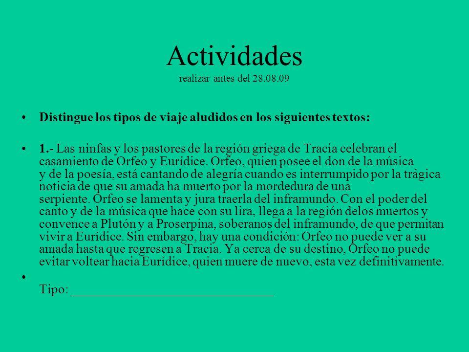 Actividades realizar antes del 28.08.09