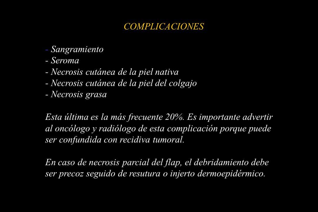 COMPLICACIONES - Sangramiento. - Seroma. - Necrosis cutánea de la piel nativa. - Necrosis cutánea de la piel del colgajo.