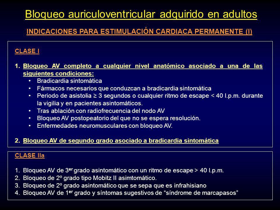 INDICACIONES PARA ESTIMULACIÓN CARDIACA PERMANENTE (I)