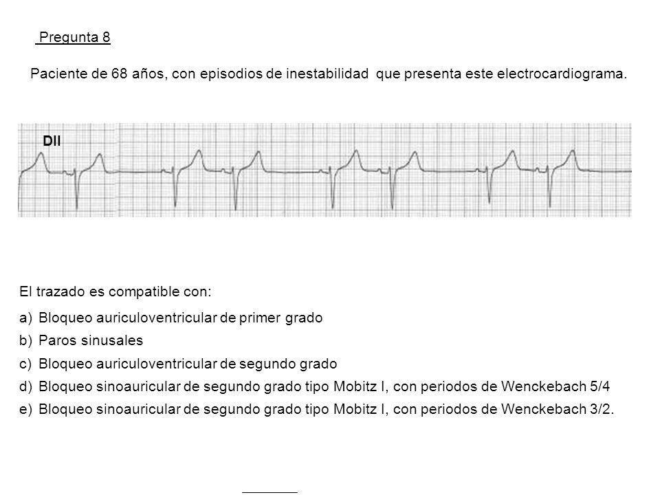 Pregunta 8 Paciente de 68 años, con episodios de inestabilidad que presenta este electrocardiograma.